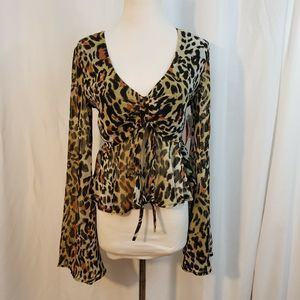 Olivaceous M top Vneck sheer cropped animal print